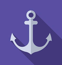 Flat design modern of anchor icon with long shadow vector