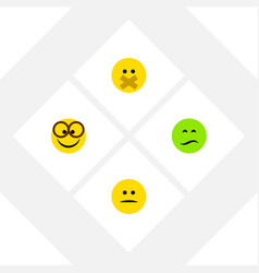 Flat icon expression set of displeased frown vector