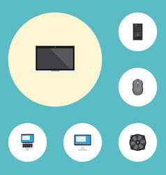 Flat icons system unit laptop computer mouse and vector