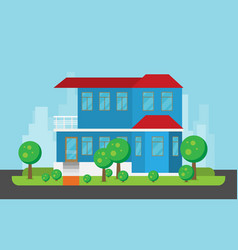 flat residential house vector image