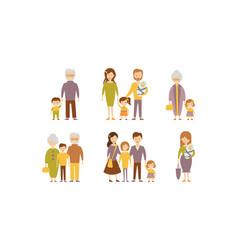 flat set families parents with kids vector image