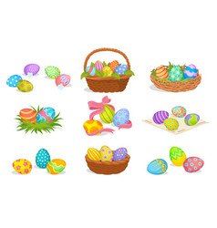 flat set of cute easter compositions vector image