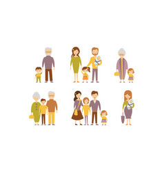 Flat set of families parents with kids vector