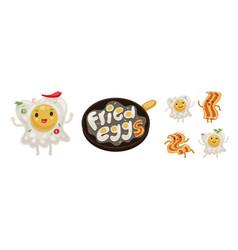 fried egg and bacon emoji set vector image