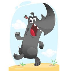 funny cartoon rhino dancing vector image