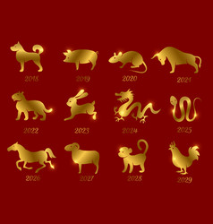 Gold chinese horoscope zodiac animals vector