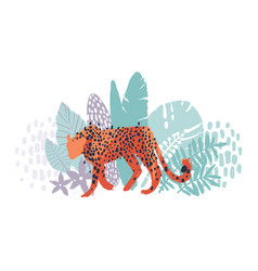 graphic cheetah surrounded by exotic plants vector image
