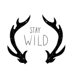 Hand drawn Deer horns with Stay Wild phrase vector