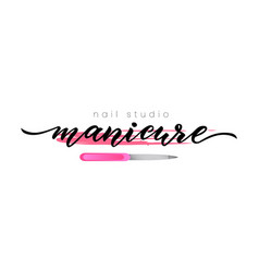hand lettering manicure nail studio spot of nail vector image