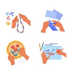 Handicraft art human hands craft hobby or pastime vector