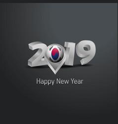 Happy new year 2019 grey typography with korea vector