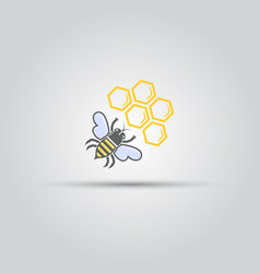 honey bee and honeycomb isolated sign vector image