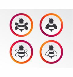 Honey bees icons bumblebees symbols vector