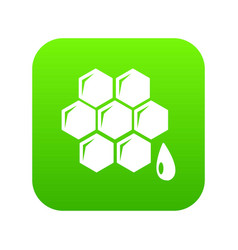 honeycomb icon green vector image