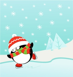 Ice Skating Penguin vector image