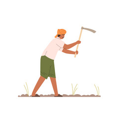 Indian farmer working with hoe on farm field work vector