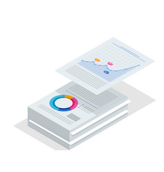 Isometric stack documents bureaucracy concept vector