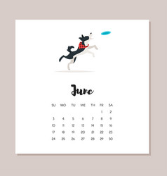 June dog 2018 year calendar vector