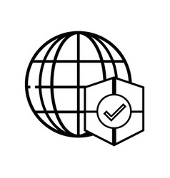line global connect with shield to security vector image