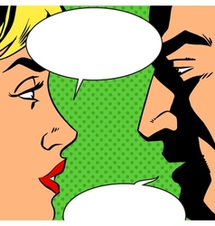 man and woman talking comics retro style vector image