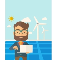 Man with laptop in solar panel vector