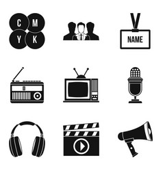 mass media icons set simple style vector image