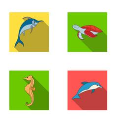 merlin turtle and other speciessea animals set vector image
