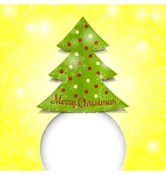 Merry Christmas paper green tree vector image