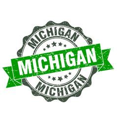 Michigan round ribbon seal vector