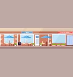 modern summer cafe shop exterior empty no people vector image