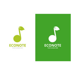 note and leaf logo combination music and vector image