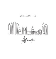 one single line drawing atlanta city skyline vector image