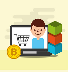 online shopping e-commerce bitcoin blockchain vector image