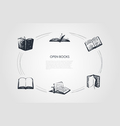 open books - books with open pages and coverings vector image