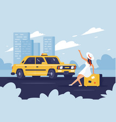 person catching taxi on road next to city vector image