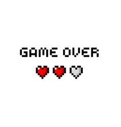 pixel game over text with three hearts vector image