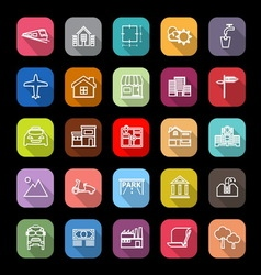Real estate flat line icons with long shadow vector image