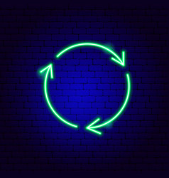 recycling arrows neon sign vector image