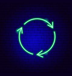recycling arrows neon sign vector image