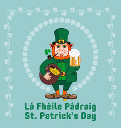 saint patrick s day party flyer leprechaun with a vector image