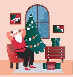 Santa claus sitting at home vector