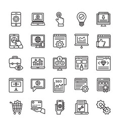 Seo and web optimization line icons 3 vector