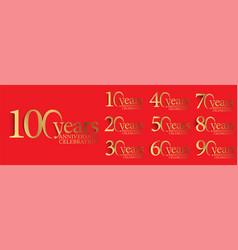 set anniversary logotype style vector image