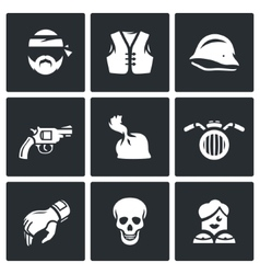 set criminal biker club icons biker vector image