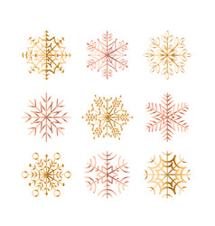 set golden snowflakes on vector image