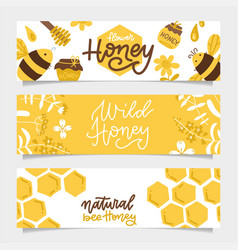 Set honey banners trendy hand drawn bee and vector
