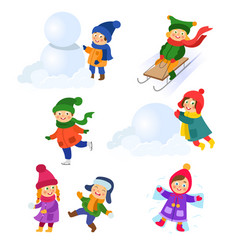 set of kids children enjoying winter activities vector image