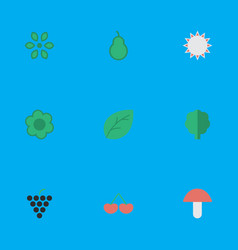 set of simple gardening icons elements fungus vector image