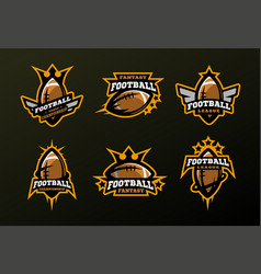 Set of sports logos games in american football vector