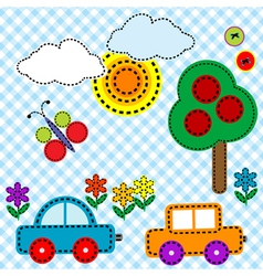 Sewing background fabric for kids vector image